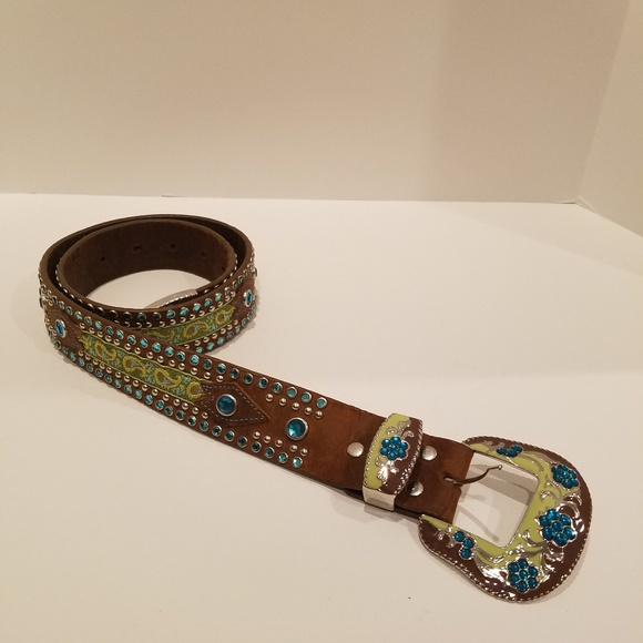 Unbranded Accessories - Brown Leather Embellished Western Belt Sz S